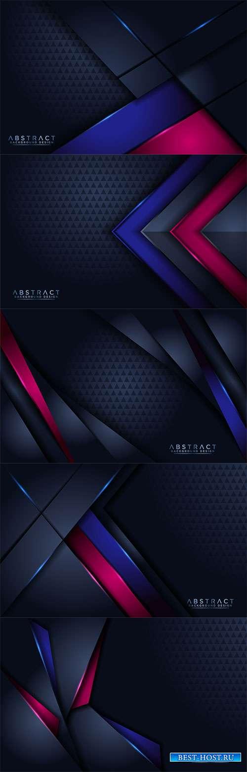 Оригинальные оттенки синего и малинового цветов - Векторные фоны
