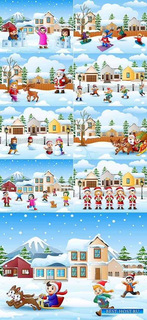 Наступила зима - веселится детвора - 7 - Векторный клипарт