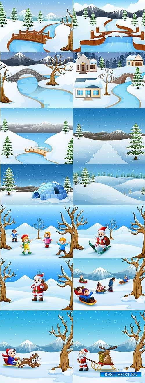 Зимние пейзажи - 4 - Векторные фоны