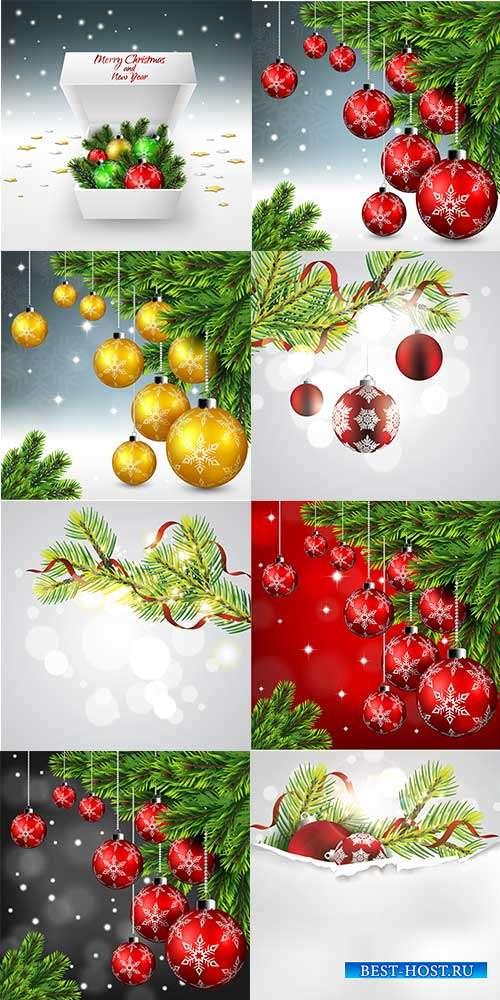 Новогодние фоны с ёлочными шарами - Векторный клипарт