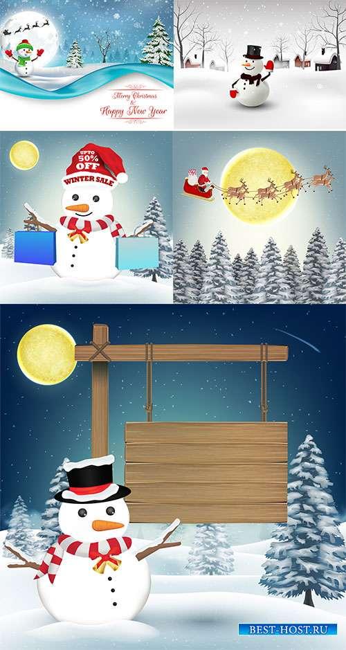 Зимние пейзажи - 5 - Векторные фоны