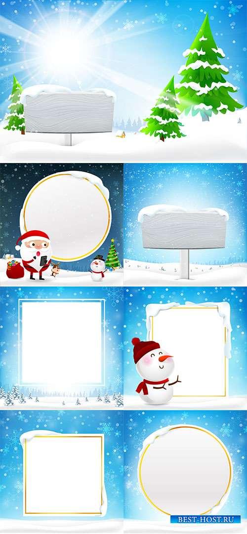 Зимние фоны со снежными рамками - Векторный клипарт