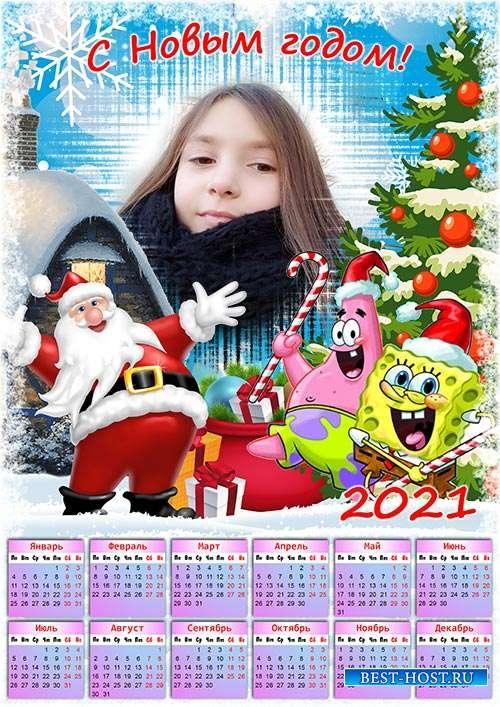Настенный календарь с рамкой на 2021 год - Новый год с Спанч Бобом