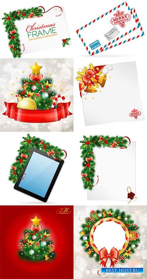 Праздничные новогодние фоны - 10 - Векторный клипарт