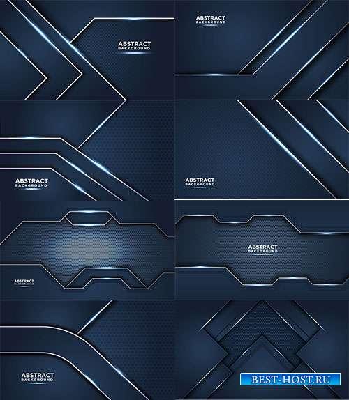 Синие векторные фоны с серебряными абстрактными линиями