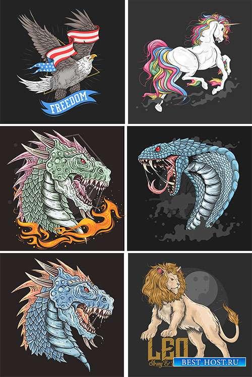 Сказочные животные - Векторный клипарт
