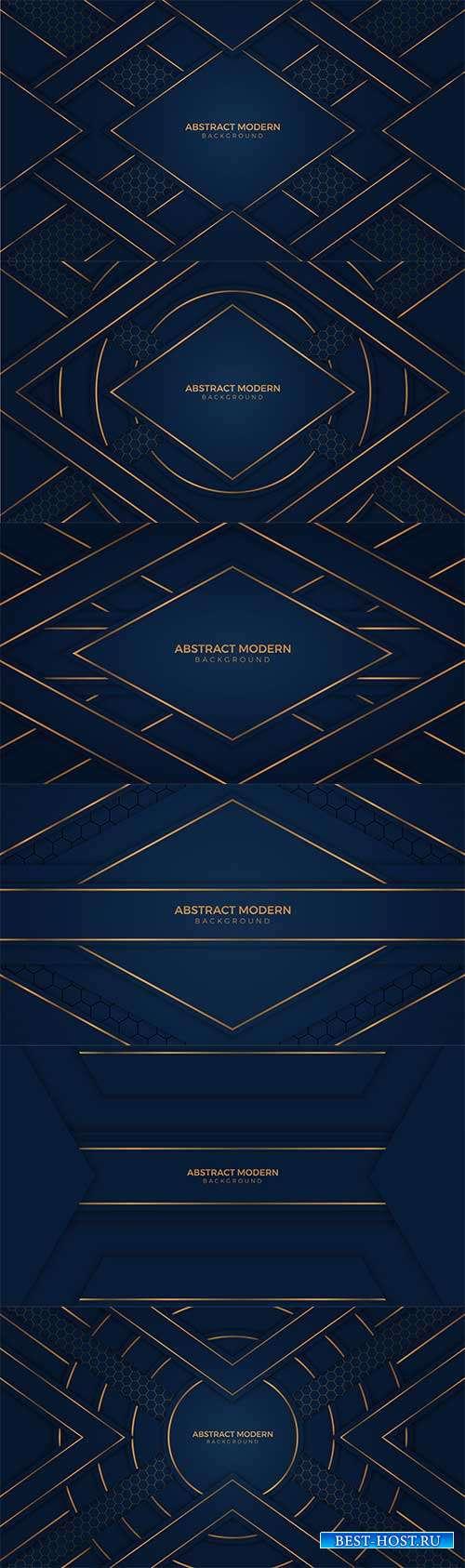 Синие фоны с золотыми линиями - Векторный клипарт
