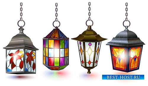 Разноцветные уличные фонари - Векторный клипарт