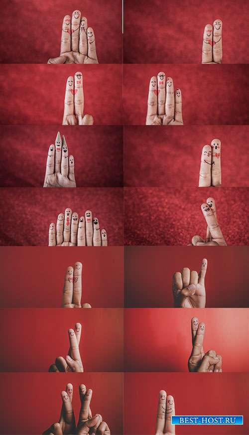 Влюблённые пальчики. Игра эмоций - Растровый клипарт
