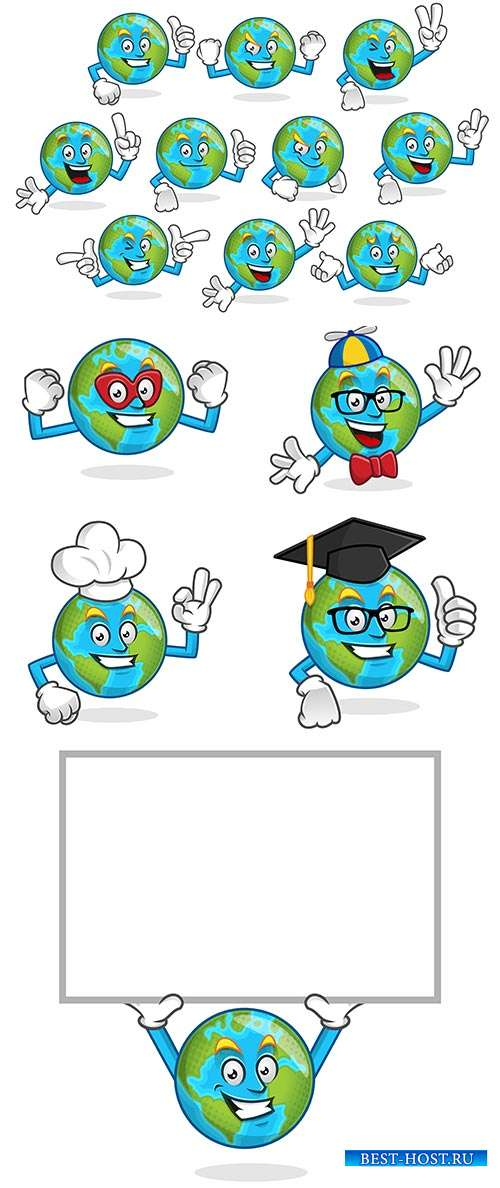 Забавный глобус - Векторный клипарт