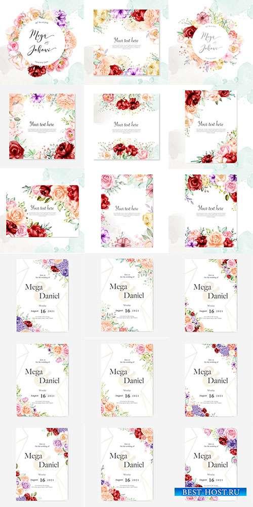 Приглашения в цветочных рамках с розами - Векторный клипарт