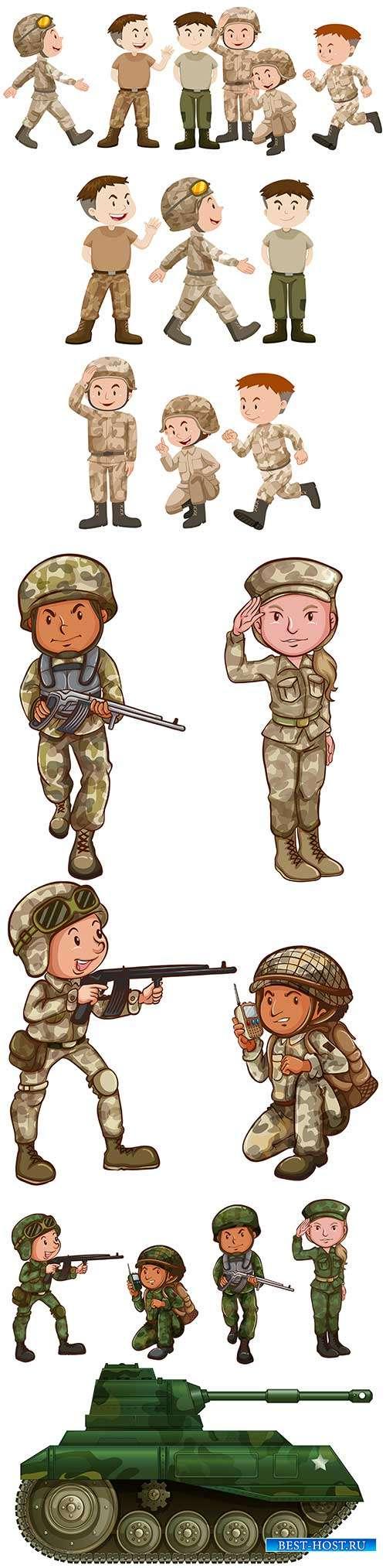 Рисованные люди в военной форме - Векторный клипарт