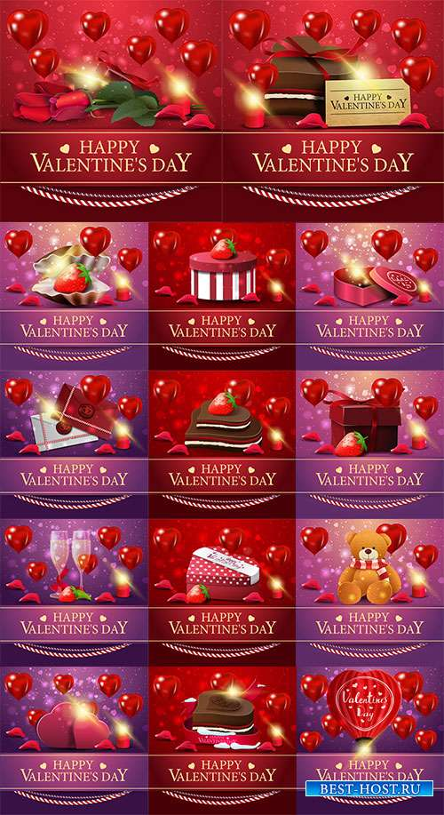 Фоны для поздравлений в день святого Валентина - Векторный клипарт