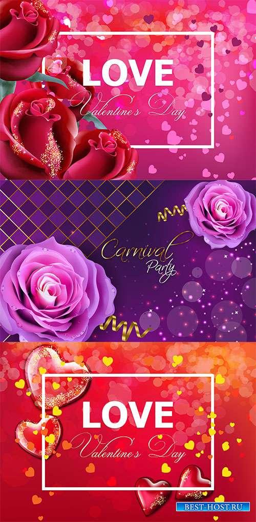 Открытки с розами - Векторный клипарт