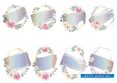 Рамки с цветами - Векторный клипарт