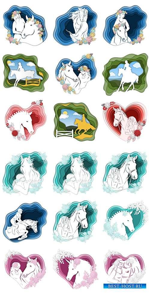 Девушка и лошадь - Векторный клипарт