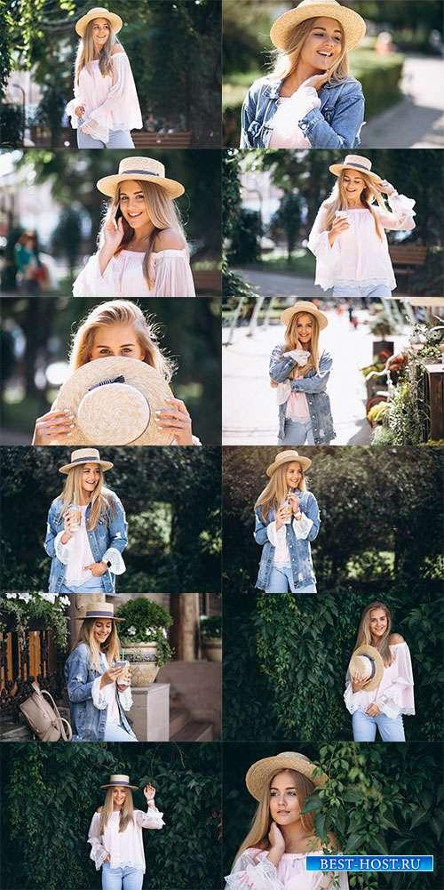 Девушка со шляпкой - Фотоклипарт