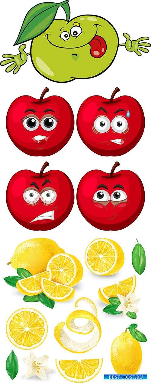 Лимон и яблоки - Векторный клипарт