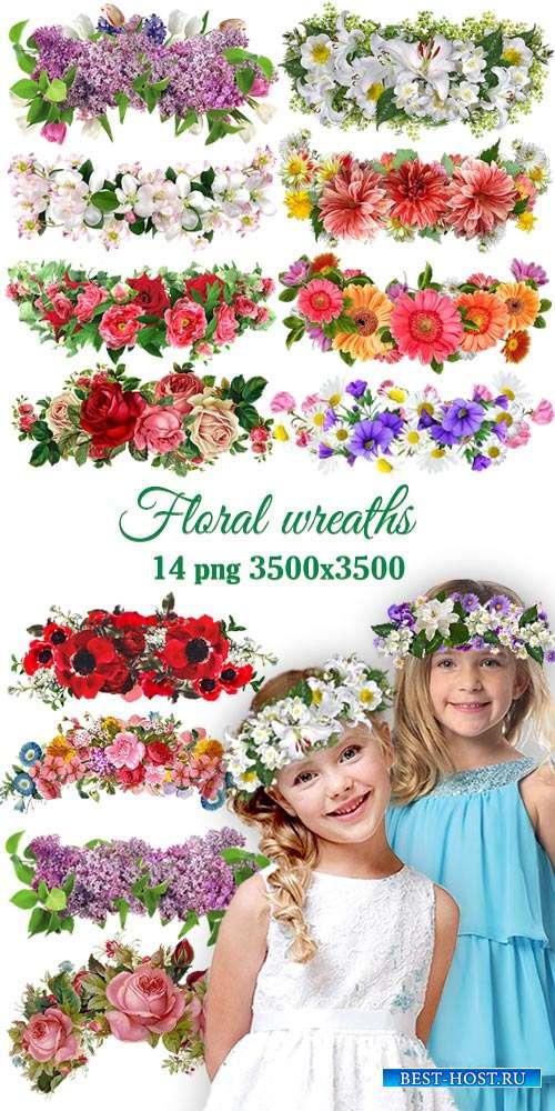 Цветочные веночки png для коллажей - Floral wreaths overlays for collages