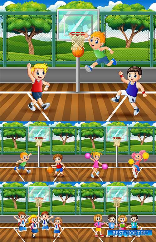 Детская баскетбольная команда - Векторный клипарт