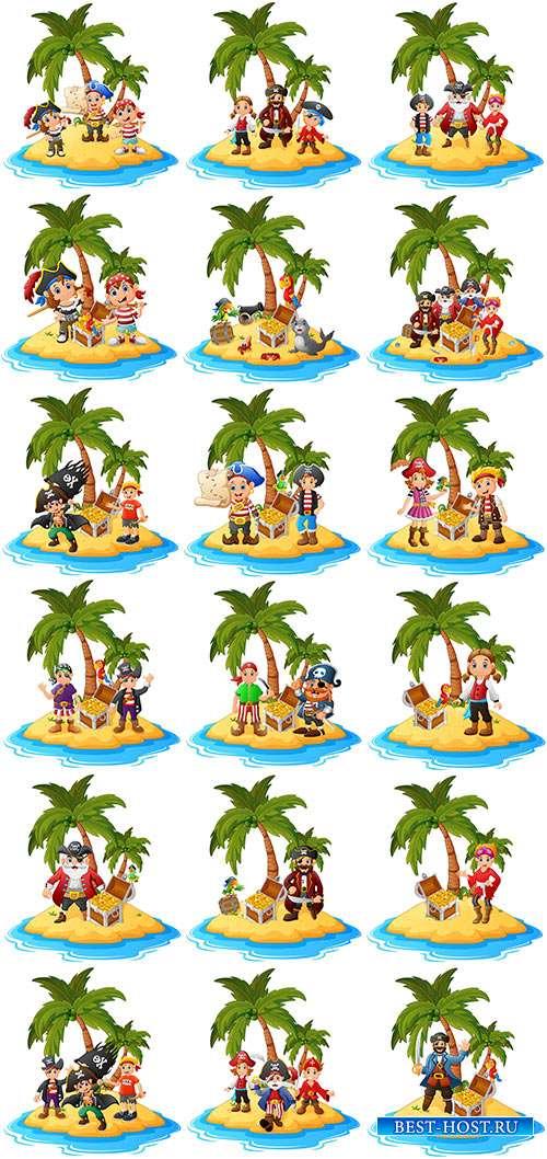 Пираты на необитаемом острове - Векторный клипарт