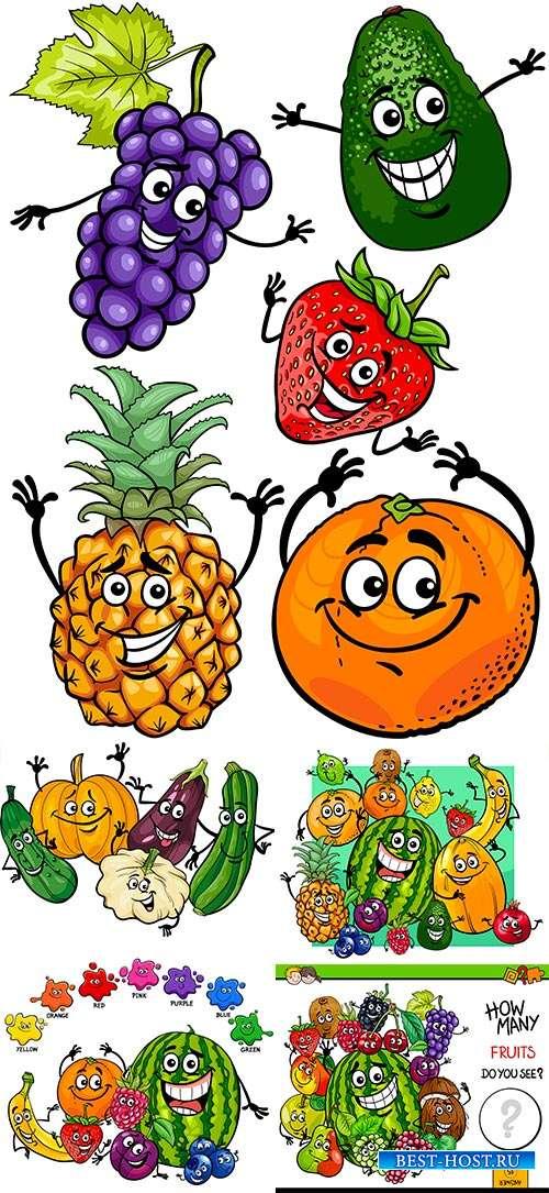 Вкусные подарки лета. Овощи и фрукты - Векторный клипарт