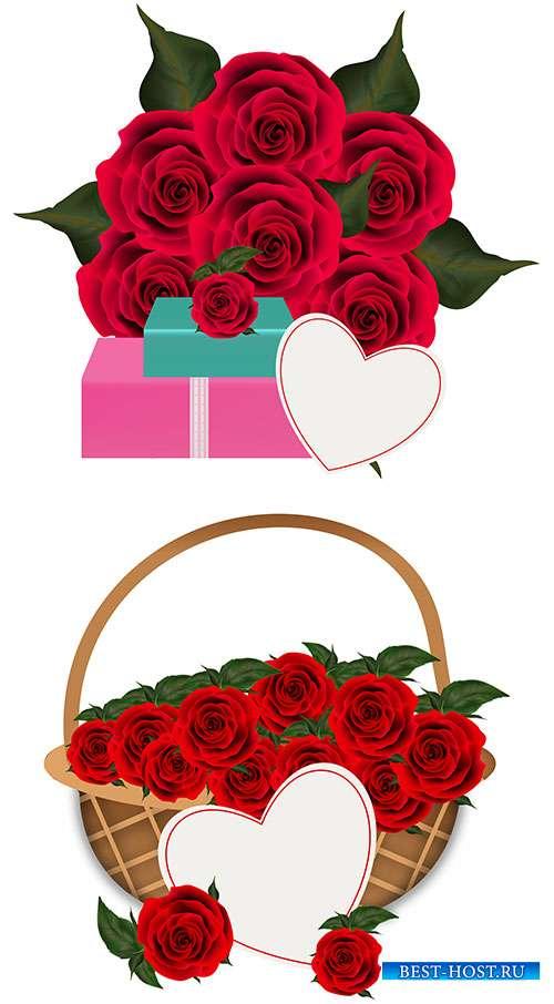 Прекрасные розы с сердечком для поздравлений - Векторный клипарт