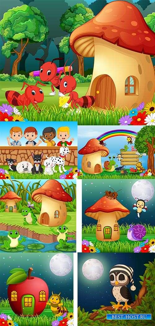 Отдых в ярких красках лета - Детские летние фоны в векторе