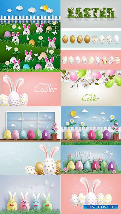 Векторные фоны с пасхальными яйцами