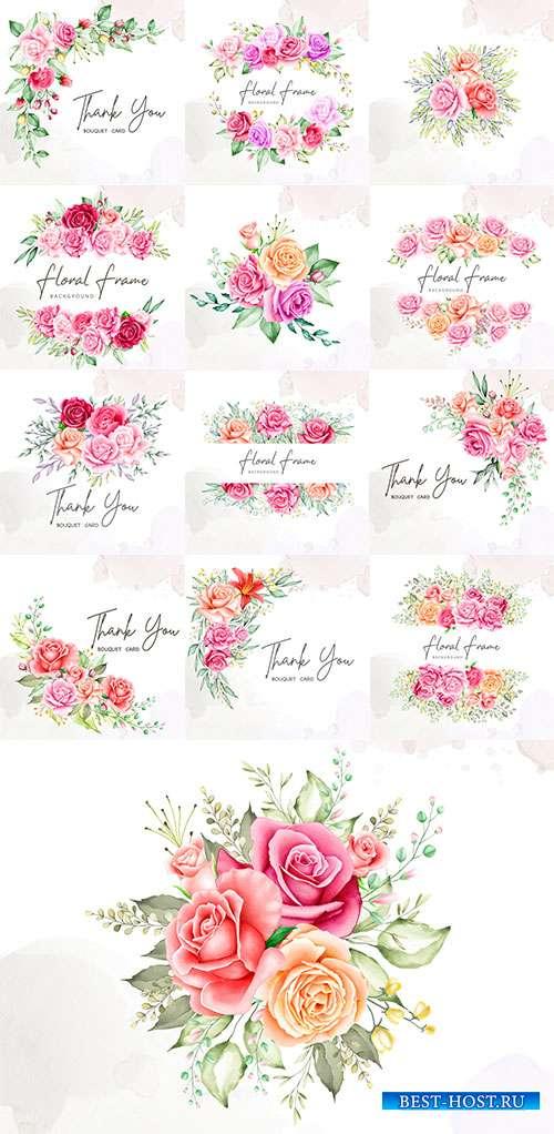 Образ нежности и стиля - Векторные приглашения с цветами