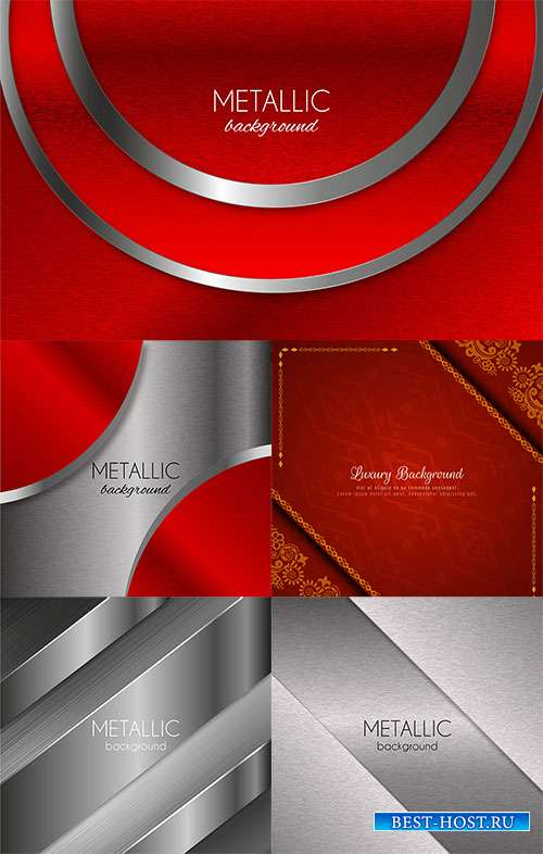 Красное с серебром - Векторные фоны