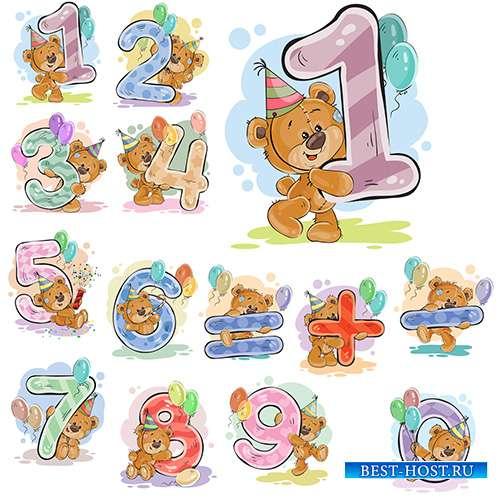 Мишки Тедди с цифрами - Векторный клипарт