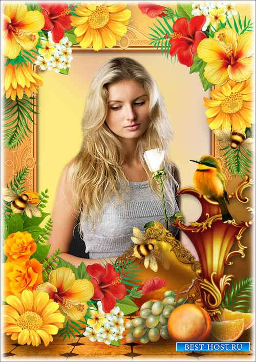 Цветочная рамка с натюрмортом - Лимонный певун