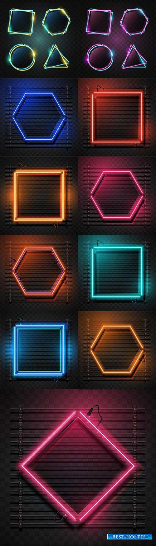 Векторные фоны с неоновыми геометрическими фигурами