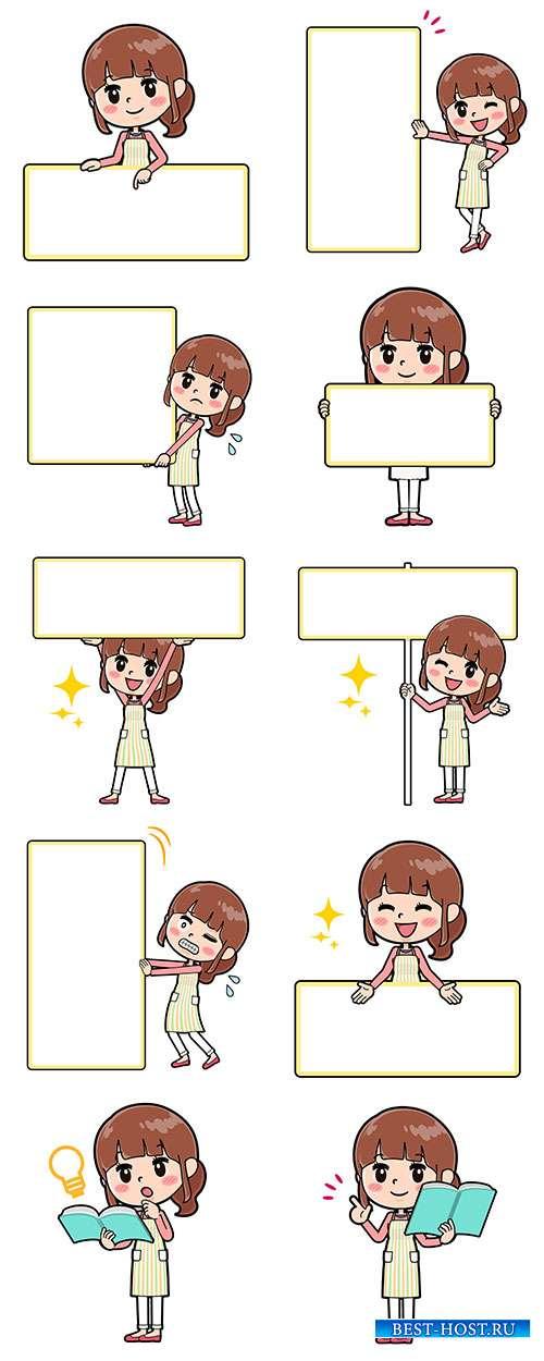 Девочки с рамками - Векторный клипарт