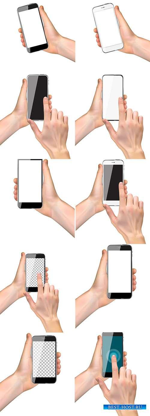 Руки со смартфоном - Векторный клипарт