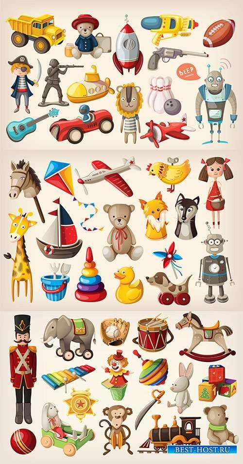 Любимые игрушки из детства - Векторный клипарт