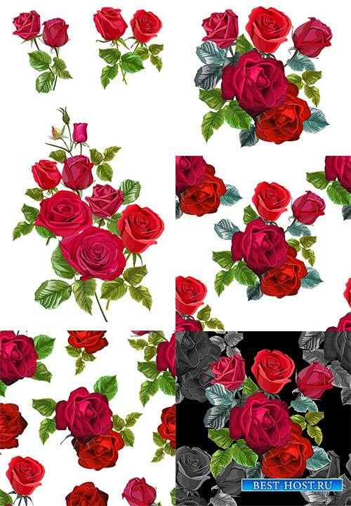 Красные розы - Векторный клипарт