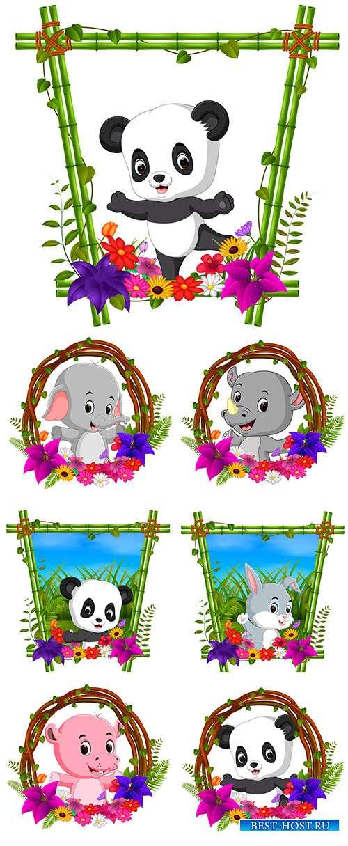 Забавные животные, поднимающие настроение - Векторный клипарт