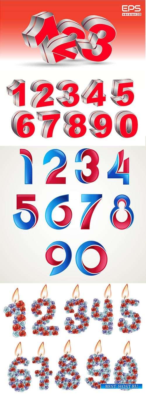 Цветные цифры - Векторный клипарт