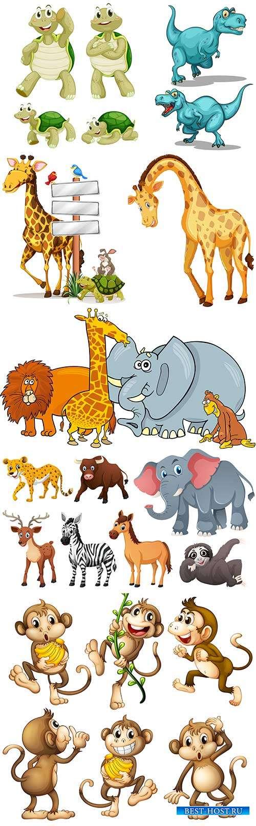 Веселые животные-проказники - Векторный клипарт