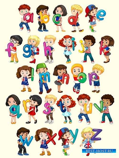 Дети с алфавитом - Векторный клипарт
