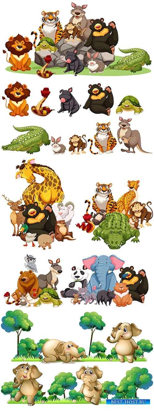 Удивительные и забавные животные - Векторный клипарт