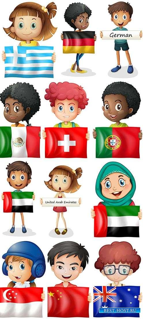 Дети с флагами разных стран мира - Векторный клипарт