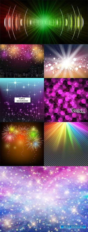 Фоны с красочными световыми эффектами в векторе