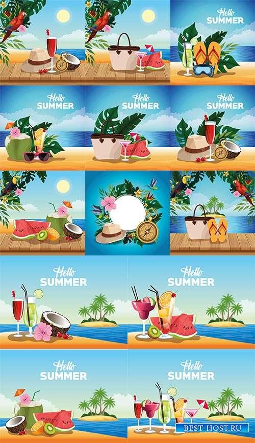 Экзотика тропического рая - Векторные летние фоны