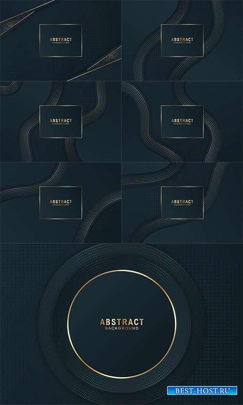Классический чёрный с золотыми линиями - Векторные фоны