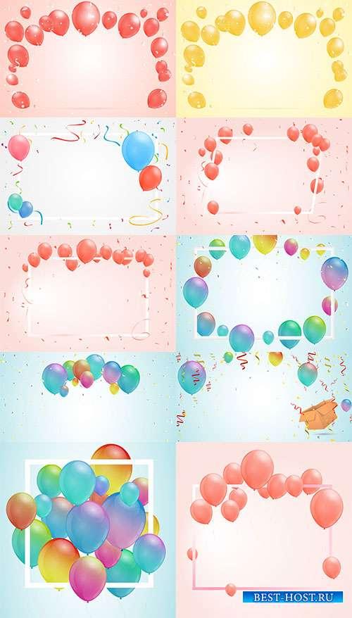 Рамки с воздушными шарами - Векторный клипарт