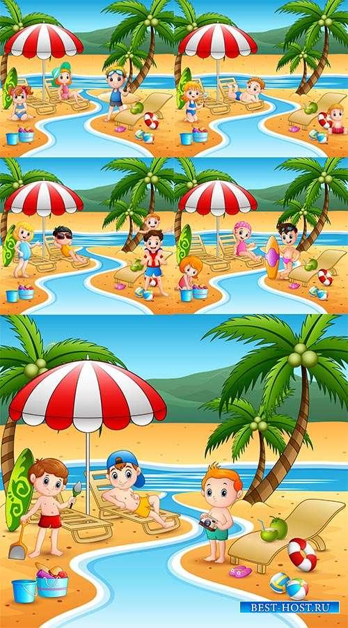 Таинственный пляж для отдыха - Векторный клипарт
