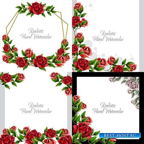 Рамки с красивыми красными розами - Векторные фоны